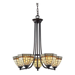 Z-Lite - Z-Lite Prairie Garden Chandelier X-5-53Z - This five light chandelier uses clean geometric patterns colored in cream white and amber to create a timeless look. Finished in chestnut bronze, this fixture would be perfect in any part of the home.