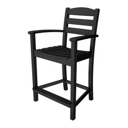 Polywood - Eco-friendly Counter Stool in Black - Guests will sit up and take notice of your impeccable sense of style when you adorn your outdoor entertaining area with the Polywood La Casa Cafe Counter Arm Stool.