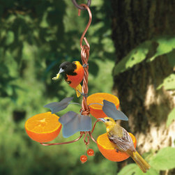 Songbird Essentials - Copper Oriole Triple Fruit Feeder with Ivy - Copper Oriole Triple Fruit Feeder with Ivy. Easy screw on orange coils that hold oranges more securely than simple cups. Beautiful orange beads that also add beauty and Oriole attraction.