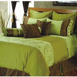 Rizzy Rugs - Amazon King Bedding Ensemble - A rare combination of green olive and brown make the creation suitable for any kind of color theme you are using in your room. A must have bed linen contains 80% viscose and 20% polyester. To add up more value the embroidery is also hand made. Set Includes:  -One Duvet Cover: 98 x 114, Two Euro Shams: 30 x 30, Two King Shams: 20 x 36, Two Cushions: 18 x 18, One Bolster: 9 x 32 and One Bed Skirt with 18 Fall: 78 x 80  -Laundering Info: Dry Clean Only  -Each bedding ensemble comes with 100% polyester fill for the duvet and accent pillows.  -Standard and Euro Shams do not come with fillers Rizzy Rugs - BT-603K