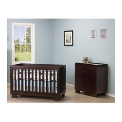 Babyletto Modo 3-in-1 Convertible Wood Crib Set in Espresso - Babyletto Modo 3 in 1 Convertible Wood Crib with Toddler Rail in Espresso