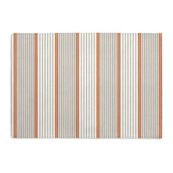 Gray & Orange Optical Stripe Custom Placemat Set - Is your table looking sad and lonely? Give it a boost with at set of Simple Placemats. Customizable in hundreds of fabrics, you're sure to find the perfect set for daily dining or that fancy shindig. We love it in this modern orange & gray optical stripe on white cotton. get in line, it's going fast!