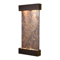 Adagio Water Features - Whispering Creek Wall Fountain, Blackened Copper, Solid Rajah Slate - The perfect indoor fountain for home or office.