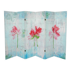 Oriental Furniture - 5 1/4 ft. Spring Morning Canvas Room Divider 6 Panel - In this screen, the artist has collaged painted rice papers into a colorful room accent. Capturing the exhilarating morning light of a Spring day, Gita has printed a series of three vivid Magnolia blossoms onto the panels. Give your home or office the continuous mood of a gorgeous clear spring day.