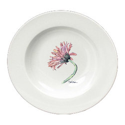 Caroline's Treasures - Flower - Gerber Daisy Round Ceramic White Soup Bowl 8853-SBW-825 - Flower - Gerber Daisy Round Ceramic White Soup Bowl 8853-SBW-825 Heavy Round Ceramic Soup Bisque Gumbo Bowl 8 3/4 inches. LEAD FREE, microwave and dishwasher safe. The bowl has been refired over 1600 degrees and the artwork will not fade or crack. The Artwork for this gift product and merchandise was created by Sylvia Corban copyright and all rights reserved.