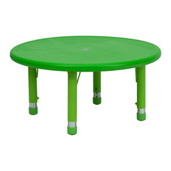 "Flash Furniture - 33"" Round Height Adjustable Round Green Plastic Activity Table - Kids activity tables are excellent for early childhood development. The primary colors make learning and play time exciting when several colors are arranged in the classroom. This durable table features a plastic top with steel welding underneath along with adjustable steel legs that is sure to last throughout the years."