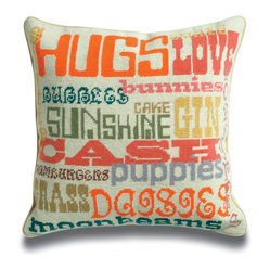 Happy Needlepoint Throw Pillow