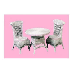 Spice Island Wicker - 3-Pc Victorian Child Tea Set (White/Off-White) - Includes table and two chairs. Made from wicker. Pink and white color. Chair: 15 in. W x 15 in. D x 25 in. H. Table: 23 in. Dia. x 18 in. H (30 lbs.)