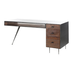 Marco Polo Imports - Parker Xavier Desk - Sleek, modern desk with clean lines. Made from solid reclaimed Acacia, Peroba and metal.