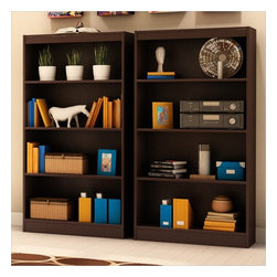 South Shore - South Shore Vintage 2 Piece 4 Shelf Wall Bookcase Set in Chocolate - South Shore - Bookcases - 7259767PKG - South Shore Axess 4 Shelf Bookcase in Chocolate