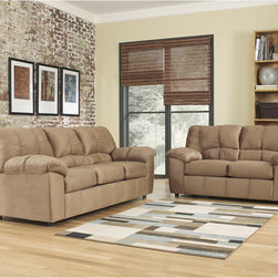 Signature by Ashley - Dominator Living Room Set in Mocha Fabric - Sofa and Loveseat Set. Contemporary Design. Plush Upholstered Arms. Mocha Fabric Upholstery. Bustle Back Cushions. Fixed Back. Loose Seat Cushions. CA117 Fire Retardant Foam. Black Bottom Dust Cover. Plastic Triblock Feet. Durable Frame Construction. Seat and Back Spring Rails cut from .875 in.  Thick Hardwood. Corners are Glued, Blocked and Stapled. Upholstery pre-approved for wearability and durability against AHFA Standards. Cushion core constructed of low melt fiber wrapped over high quality foam. 100% Polyester. Spot clean with water based cleaner. Loveseat: 66 in. W x 38 in. D x 38 in. H. Sofa: 90 in. W x 38 in. D x 38 in. H.