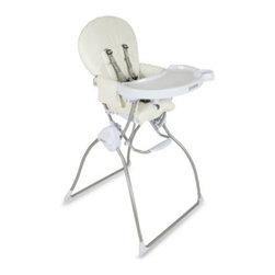Joovy® - Joovy Nook High Chair in White Leatherette - The Nook by Joovy makes dining comfortable and safe for your child. It features a swing-open tray that opens with one hand and has a dishwasher-safe tray insert for those messy days.