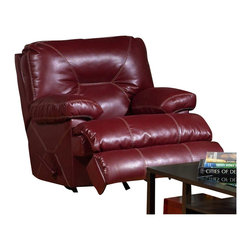 Catnapper - Catnapper Cortez Chaise Glider Recliner Chair in Red Bonded Leather - Catnapper - Recliners - 42906120314300314 - This Chaise Glider Recliner from Cortez Collection by Catnapper is upholstered in dark red, extremely durable leather cover. This wonderful Cortez Collection features dramatic accent stitching and manual reclining mechanism. This extremely comfortable chaise glider recliner will become your favorite place to relax. This collection also comes in brown. Great color and design of this collection make it fit in any decor!