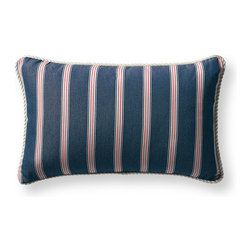 Frontgate - Sea Stripe Blue Outdoor Lumbar Pillow - Beautiful accent pillow can be used both indoor and outdoor. 100% Sunbrella® solution-dyed acrylic woven fabric. High-density polyester fill. Zipper closure. Spot clean with mild natural soap and water; air-dry only. Evoking the state of pure relaxation found at sea, our Sunbrella Sea Stripe Indigo Lumbar Outdoor Pillow exudes nautical styling. An Indigo ground is clad with vibrant stripes and trimmed with Ivory cord. The Sunbrella fabric is woven, not printed, to retain its luster and lively pattern season after season.  . 100% Sunbrella solution-dyed acrylic woven fabric .  .  .  . Indigo ground trimmed with Ivory cord . Made in the USA.