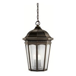 Kichler 3-Light Outdoor Fixture - Rubbed Bronze Exterior - Three Light Outdoor Fixture. Uncluttered and traditional, this attractive hanging lantern from the courtyard collection adds the warmth of a secluded terrace to any patio or porch. What a welcoming beacon for your home's exterior. Done in a rubbed bronze finish with clear-seedy glass. 3-light, 60-w. Max. Dia. 12-1/2, body height 21-1/2, overall 95-1/2, extra lead wire 61. 6' of chain. For additional chain order no. 4927 rz. UL listed for damp location.