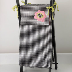 Cotton Tale Designs - Poppy Hamper with Frame - A quality baby bedding set is essential in making your nursery warm and inviting. Cotton Tale uses quality materials and unique designs to create your perfect nursery. Part of the Poppy collection this hamper shown on sturdy wood frame shown in black lacquer. Hamper bag is in hounds tooth black and white with applique poppy and citrus green bias ties. Machine wash the hamper bag, cold water, gentle cycle, separately. Tumble dry low, or hang to dry. This collection is perfect for your little girl.
