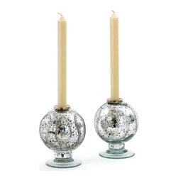 Go Home - Go Home Vintage Silver Spherical Candleholder - An inquisitive Vintage Silver Spherical Candleholder is made with handcrafted clear glass. A unique pattern of trapped ferns is encased within it. Crafted in spherical shape, this holder provides your candle stout support.
