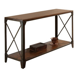"""Steve Silver Furniture - Steve Silver Winston Sofa Table in Distressed Tobacco - The modern industrial design of the Winston Collection complements both casual and upscale eclectic décor.  The Winston sofa table stands 30"""" high, with a square 48"""" x 18"""" wood top, with metal X-frame, and a bottom shelf for storage. This eye-catching piece complements the Winston cocktail table and end table."""