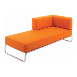 Gebruder T 1819 - Gebruder T 1819 Range S 5000 Day Bed - Armchair, lounger, chaise longue, sofa. James Irvine has re-interpreted for Thonet a type of sofa that was an element of the Thonet program even in the 1930's: the archetype of the minimalist sofa with a base of curved tubular steel. With slight interventions of his own, James Irvine has developed a variable program of seating furniture that is based on a simple, intelligent design idea: the S 5000 range is a building set. It consists of three basic seat elements and a set of upholstered units that are used in a variety of ways as back or armrests. Manufactured by Gebrueder T 1819.