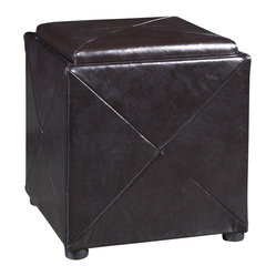Modus Milano Storage Cube Ottoman in Chocolate Brown Leather