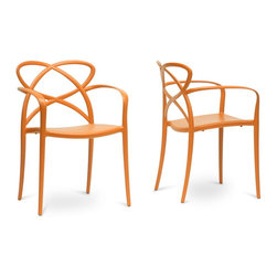 Baxton Studio - Baxton Studio Huxx Orange Plastic Stackable Modern Dining Chair Set of 2 - Spirited and peppy, the Huxx Contemporary Dining Chair has quite the personality. This fun designer dining chair brightens up a room with orange molded plastic construction featuring non-marking feet. Made in China, the Huxx Dining Chair is stackable and comes fully assembled. To clean, wipe with a damp cloth. The Huxx Chair is also available in red (sold separately).