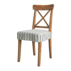 Carina Bengs - INGOLF Chair with chair pad - Chair with chair pad, antique stain, Alvine Smal dark blue/white