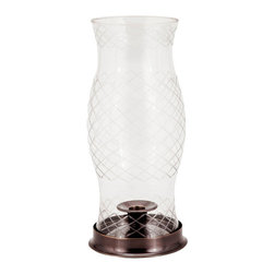 Fashion N You - Lexington Cut Glass Hurricane Lamp - This beautiful brass Lexington cut glass hurricane lamp will add a warm glow to any event. With lacquered brass for long-lasting shine and a felted base, this hurricane lamp goes great in any setting.