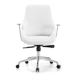 White Line Imports - Natasha Low Back Office Chair in Black Leatherette - Simply elegant and functional, this modern office chair with low back from Natasha collection comes with synchronized mechanism with 5 positions, chrome aluminum base with castors and seat with adjustable height. The leatherette cover is finished in Black.