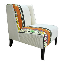 Kathy Kuo Home - Triton Modern Rustic Patterned  Pin Stripe Cochin Accent Chair - Add some oomph to your living space with this vibrant chair. Boldly upholstered in pinstripes and bright woven fabric, its cool, eclectic pattern is balanced by a clean contemporary shape. It's an accent chair so stunning, it might just become a focal point.