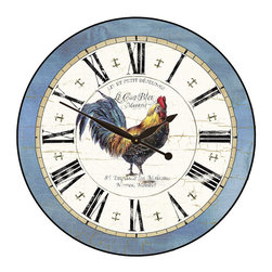"Tyler - Large Rooster Clock Blue, 18"" - Made in USA-Made When Ordered"