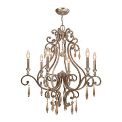 Crystorama - Crystorama Shelby Chandelier X-TD-6257 - Metals are hot, hot, hot! And the old rule against mixing silver and gold tones no longer applies. We've achieved the perfect combination of silver and gold (and just the right amount of sparkle, too) in our Distressed Twilight finish. The Shelby collection wears this finish well, with it's graceful curves and warm amber hand cut crystal drops and beads.