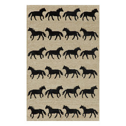 "Trans-Ocean Inc - Horses Sable 42"" x 66"" Indoor/Outdoor Rug - Richly blended colors add vitality and sophistication to playful novelty designs. Lightweight loosely tufted Indoor Outdoor rugs made of synthetic materials in China and UV stabilized to resist fading. These whimsical rugs are sure to liven up any indoor or outdoor space, and their easy care and durability make them ideal for kitchens, bathrooms, and porches; Primary color: Neutral;"