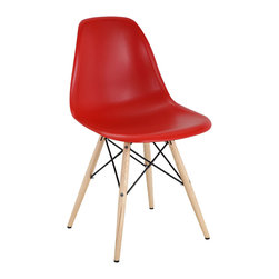 """IFN Modern - Eames DSW Chair-Red - Created by Ray and Charles Eames, the Eames DSW Chair stems from revolutionary processes. The Eames DSW Chair offers many practical features that enhance comfort and durability. The wooden legs of the Eames DSW Dining Chair, which provides a pleasant natural accent to the molded plastic seat, also incorporate bent wire for maximum support. Inspired by the innovative mid century contemporary dining room furniture designs, this chair is a true modern furniture classic. This item is not an original Charles & Ray Eames product, nor is it manufactured by or affiliated with Herman Miller.Overall Dimensions: 32.5""""H x 21""""L x 18.5""""D â— Multiple colors are availableâ— Sturdy and comfortable fiberglass seatâ— Available with Solid Wooden Legs, or Solid Stainless Steel Legsâ— Iconic design"""