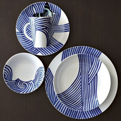 Wave Dinnerware Set - This set would be cherished in my home, because my husband is a surfer and because my kids love the beach.