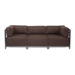 Howard Elliott Sterling Chocolate Axis 3-Piece Sectional - Titanium Frame - A Fashionable Trio! Lounge in style on a Sterling Axis 3-piece Sectional will intoxicate your room with its uplifting style. Float the Sterling Axis 3-piece Sectional in your room for an intimate seating arrangement. Expand your sectional with additional chair, corner or ottoman pieces. The steel frame is available in 2 finishes allowing you to choose a frame to best compliment your color. This piece features boxed cushions with Velcro attachments to keep the cushions from slipping and looking their best all of the time. Your Sterling Axis 3-piece Sectional will definitely turn heads with its sophisticated linen-like texture and vibrant color selection.