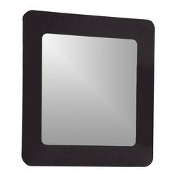 Decor Wonderland Mirrors - Decor Wonderland Ella Modern Bathroom Mirror - Unique design, elegant look. The simple square shaped mirror features a black screened border and rounded corners. The invisible mounting hardware is designed to keep the top and bottom of the mirror flush against the wall.