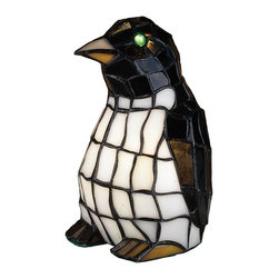 Meyda Tiffany - Meyda Tiffany Lamps Table Lamp in Tiffany Items - Shown in picture: Penguin Tiffany Glass Accent Lamp; This Adorable Penguin Accent Lamp Is Created From Ebony And Winter White Stained Art Glass With Eyes That Are Made Of Glistening Glass Jewels.