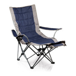 Picnic time - Portable Lounger- Navy - Portable, fully-reclining folding chair with integrated leg support, cup holder in right armrest, and full-length pocket on back of chair.