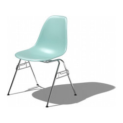 Eames Molded Plastic Stacking Side Chair-DSS - You may recognize this stacking version of the Eames Shell Chair from school. The tubular legs are designed so that you can stack and store them with ease, though I'm not sure if you did own a set why they wouldn't all be on display at all times!