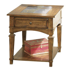 Liberty Furniture - Liberty Furniture Santa Fe 27x23 Rectangular End Table in Oak, Medium Wood - This mission-styled end table adds a casual elegance to your living room or family room. Ash solids and oak veneers add instant warmth to the room, with center slate tiles for a decorative touch. This end table features arch corner brackets, square moldings and distinguished tapered legs. A lower shelf and drawer offer space to store remotes, reading materials and small accessories. What's included: End Table (1).