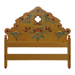 """Westwink Furniture of Santa Fe - Hand Painted """"La Fonda"""" style King Headboard - Headboard painted by one of the artists from the famous La Fonda Hotel in Santa Fe.  King size headboard with wall mounting hardware, solid 3"""" square posts. Foot rail, side rail bed supports not included in this listing."""