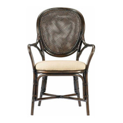 Selamat Designs - Dahlia Arm Chair, Clove - Elegant oval back chair features double wall open caning and generous seat proportions. The Dahlia Dining Chairs work well with rattan tables and complements most wood finishes.