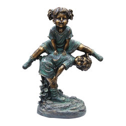 "Alpine Corporation - 26"" Tall Bronze Girl Jumping Over Boy Statue - This antique finish sculpture has a timeless charm that captures the innocence of childhood. The intricate detailing of these children is sure to bring a whimsical playfulness to your garden or deck."