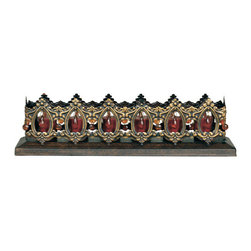 """Welcome Home Accents - Candleholder - This stunning candle holder is perfect for use in the any room in the home.  Six votive decorative candle holder in distressed metal copper finish will be a lovely decorative piece that will add a soothing warm glow to your living area. Adorned with faceted garnet """"gems"""" on every side. (Candles not included)"""