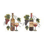 UMA - Old World Chalet Wine Decor Set of 2 - Two wine wall decors each feature a differently decorated bottle, wine glass, grapevine and grape clusters