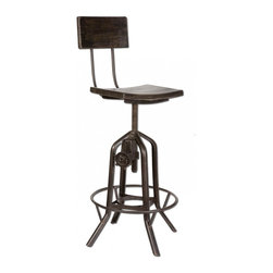"Industrial Crank Bar Stool - Vintage Industrial design bar chair with working height adjusting crank and gears. Black sealed iron with rustic antique stained mango wood. Seat raises from 24"" to 32"" in height."