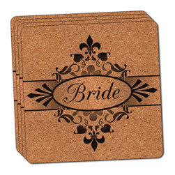 """Made on Terra - Bride on Floral Pattern Mrs Woman Hers Wife Thin Cork Coaster Set of 4 - You're just cleaning up after your epic party when you realize it... something's different. Unlike all those other times, you're not mopping up cup condensation from your counters and tables. This time, everyone used a coaster. Everyone. Maybe it's because you handed out a coaster with every glass. No. You've tried that before. No, this time it's because of the actual coasters. You found the cutest Made On Terra printed cork coasters. You love that everyone commented on how unique they were,  from the light-weight, thin cork material to the printing that creates a cool and subtle effect. Plus, they're really absorbent, but dry quickly. And they're made from an eco-friendly, sustainable resource, so that makes you feel pretty great, too. Choose from Made on Terra's many fabulous cork coasters. Measures 4"""" x 4"""" x 1/8"""". Made of thin cork. Super cute and nicely absorbent. Sold in sets of four."""