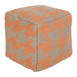 Geometric Ottoman - Sure, it may add extra seating. But this ottoman is more than just another piece of furniture. Clad in a bold, geometric print in our favorite autumnal hue--it becomes a major point of interest in any room.