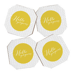 Allyson Johnson Hello Gorgeous 4 Coasters and Bamboo Holder - Say goodbye to water rings on your furniture and hello to the stylish solution: DENY Designs' Coaster Set. Available in a set of four, you can also opt for the coaster tray to house the set or go the a la carte route. Either way, your glasses are going to get a fun drinking companion!