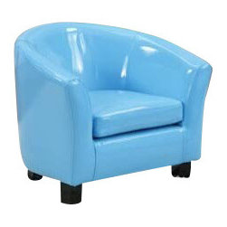 "Acme - Blue Vinyl Children's Club Chair with Rounded Back and Arms - Blue vinyl children's club chair with rounded back and arms. Measures 20"" x 17"" x 18"" H. Some assembly required. Also available in other colors."